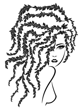 Black stencil of charming girl with floral luxuriant wavy hair on the white background, hand drawing vector Çizim