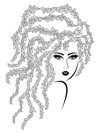 Black contour of charming woman with plant wavy hair on the white background, hand drawing vector