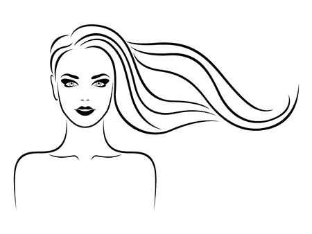Elegant and charming lady with beautiful hair in flow and sensual face, hand drawing black vector on the white background