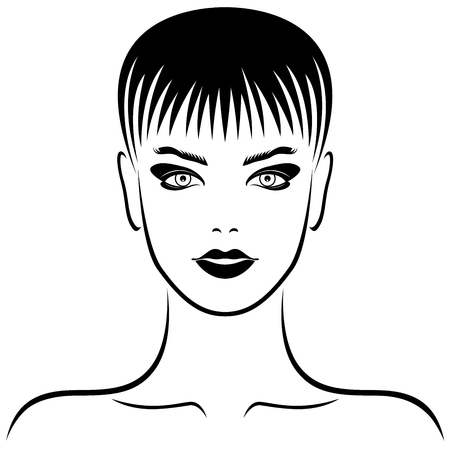 Stylized fashion woman with short hair and sensual face, vector for cosmetic products design