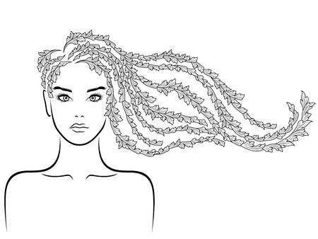 Hermosa mujer con cabello floral de lujo largo ondulado en flujo y con rostro sensual, vector negro sobre fondo blanco, dibujo a mano