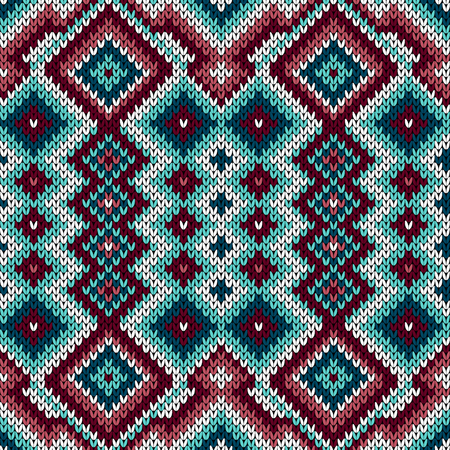 Knitted geometric ornamental pattern in the red, blue and white hues, seamless vector as a fabric texture