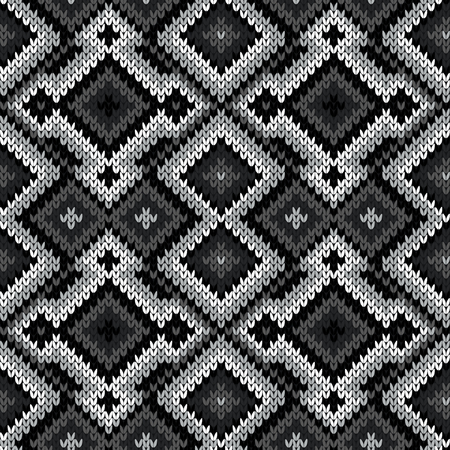 Knitted seamless ornate pattern with interlacing lines in monochrome hues vector as a fabric texture