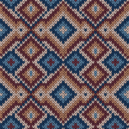 Knitted geometric decorative ornament in mute red, blue and beige hues, seamless vector as a fabric texture Ilustração