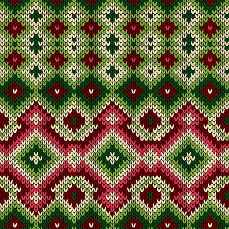 Knitted geometric decorative pattern in red, green and white hues, seamless vector as a fabric texture Stock Illustratie
