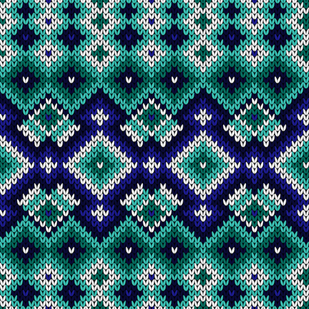 Knitted geometric ornate pattern in turquoise and blue hues, seamless vector as a fabric texture Stock Illustratie