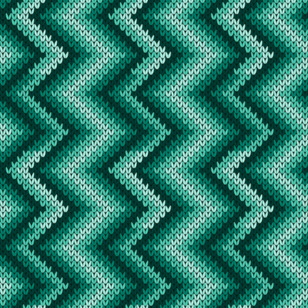 Knitted seamless decorative pattern with zigzag lines in turquoise hues with the smooth transition of color, vector as a fabric texture