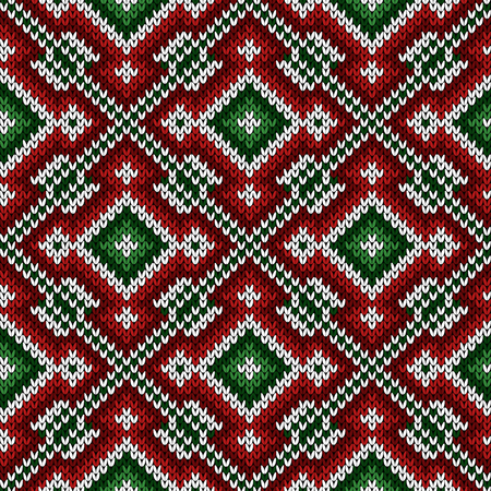 Knitted diagonal ornate pattern in green, red and white hues, seamless vector as a fabric texture