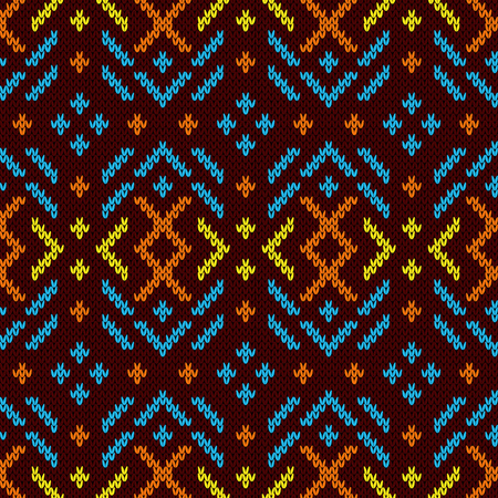Contrast colorful knitted seamless pattern in orange, blue, orange and yellow tones on the dark red background, vector pattern as a fabric texture Stock Illustratie