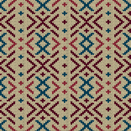 Mute colorful knitted seamless pattern in red, blue and pink tones on the beige background, vector pattern as a fabric texture 矢量图像