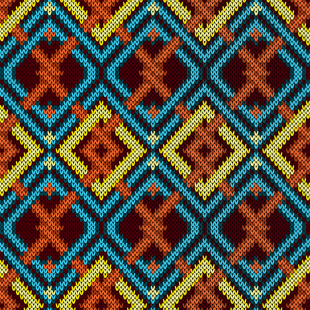 Knitted seamless ornament with interweaving of turquoise, orange and yellow lines on the dark red background, vector pattern as a fabric texture 矢量图像