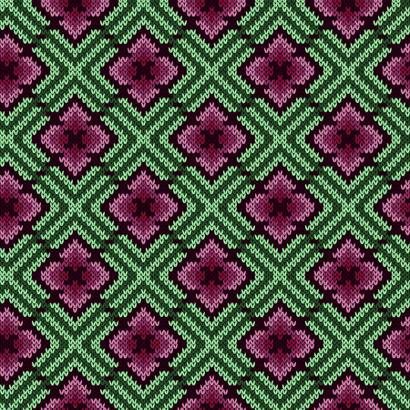 Knitting seamless ornament in red and green hues, vector pattern as a fabric texture