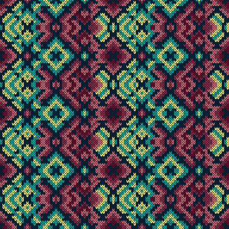 Knitted geometric ornamental pattern in the red, turquoise and yellow hues, seamless vector as a fabric texture