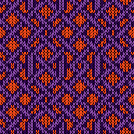 Knitted seamless ornament with interweaving of violet lines on the orange background, vector pattern as a fabric texture
