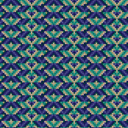 Knitting seamless ornament in blue, turquoise and beige hues, vector pattern as a fabric texture