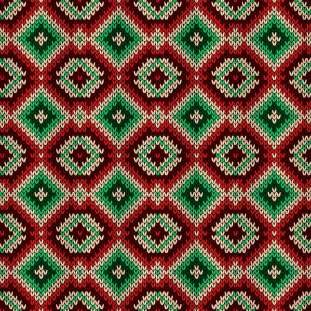 Knitted seamless decorative ornament in red, green and beige hues, vector as a fabric texture Stock Illustratie