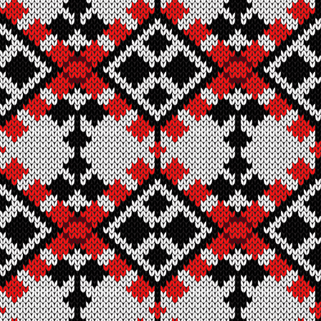 Knitting seamless ornament in red and black colors on the white background, vector pattern as a fabric texture