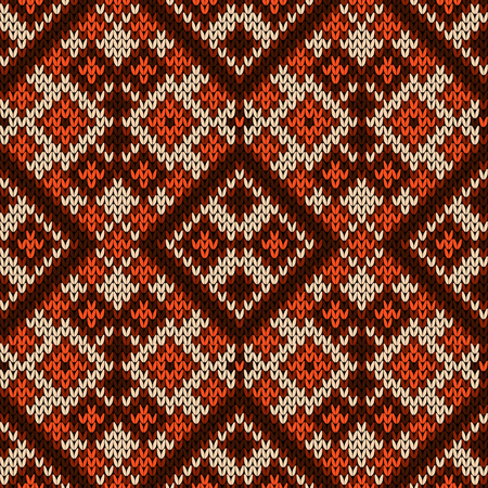 Geometric knitted seamless pattern in brown, orange and beige colors, vector as a fabric texture