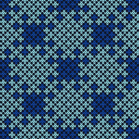 Knitted seamless saturated decorative ornament in blue hues, vector as a fabric texture