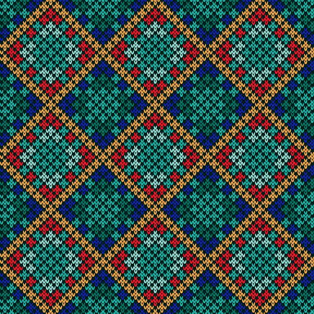 Multicolor knitted seamless pattern in blue, turquoise, orange, red and green hues, vector as a fabric texture