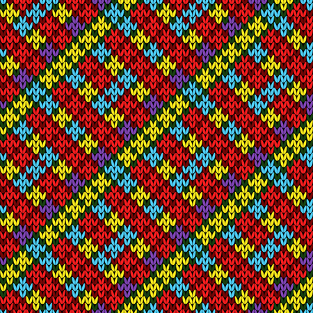 Knitted seamless pattern with bright red, blue yellow red colors, vector as a fabric texture Stock Illustratie