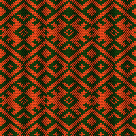 Knitted seamless colourful pattern in green and orange colors, vector as a fabric texture