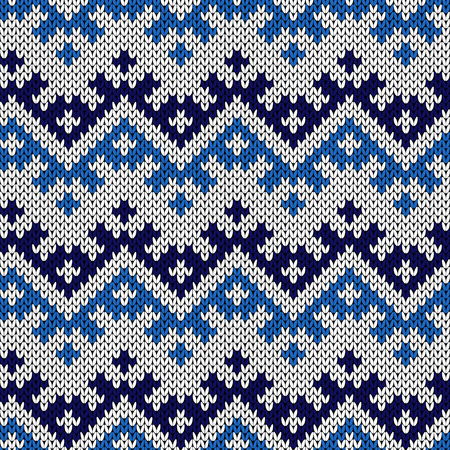 Knitted seamless decorative abstract ornament in blue hues, vector as a fabric texture Stock Illustratie