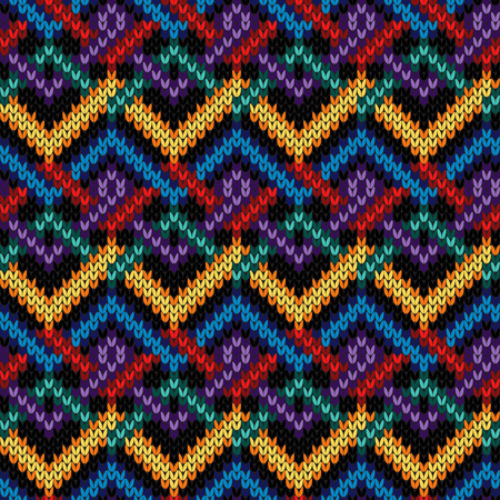 Knitted seamless ornate pattern with interlacing lines in red, blue, violet, orange and turquoise colors on the black background, vector as a fabric texture Stock Illustratie