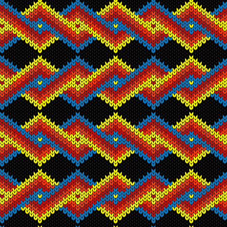 Contrast knitted seamless ornate pattern with interlacing lines in red, blue, yellow and orange colors on the black background, vector as a fabric texture