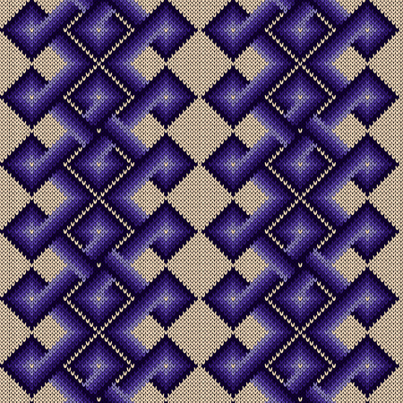 Knitted seamless ornate pattern with interlacing lines with smooth transition of purple hue on the beige background, vector as a fabric texture
