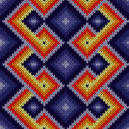 Knitted seamless decorative pattern with interlacing lines in purple, red, orange and yellow colors, vector as a fabric texture