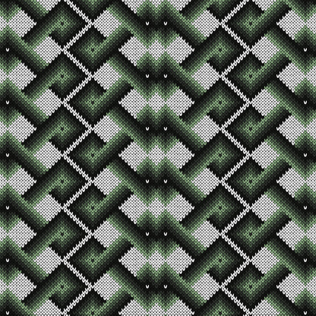 Knitted seamless ornate pattern with interlacing lines with smooth transition of dark and light green hues on the white background, vector as a fabric texture