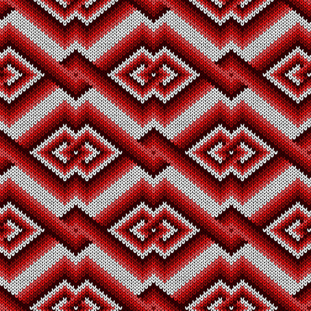 Knitted seamless decorative pattern with interlacing lines in red hues on the white background, vector as a fabric texture