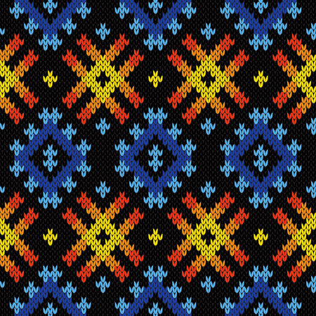 Contrast knitted seamless geometric pattern in yellow, orange and blue colors on the black background, vector pattern as a fabric texture