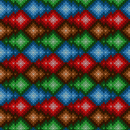 Multicolored knitted ornamental seamless pattern in blue, red, green and brown hues, vector as a fabric texture
