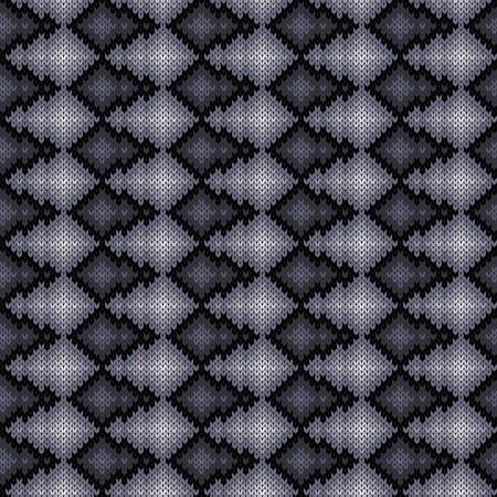 Knitted seamless pattern in monochrome colors with smooth transition of hue, vector pattern as a fabric texture Stock Illustratie