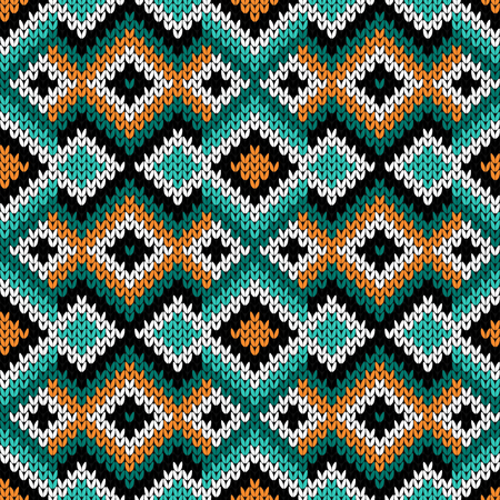 Contrast geometric knitting pattern in turquoise, orange, black and white colors, vector pattern as a fabric texture