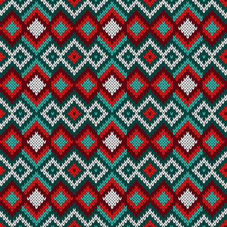 Knitted seamless decorative pattern with zigzag lines in turquoise, red and white hues, vector as a fabric texture