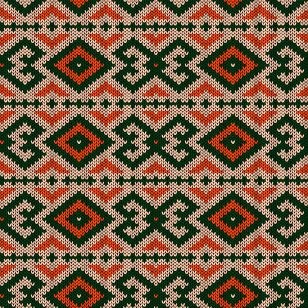Knitted geometric ornate pattern in green, orange and beige hues, seamless vector as a fabric texture Stock Illustratie