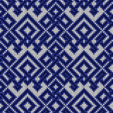 Knitted seamless ornate pattern with interlacing lines in blue hues on the white background, vector as a fabric texture