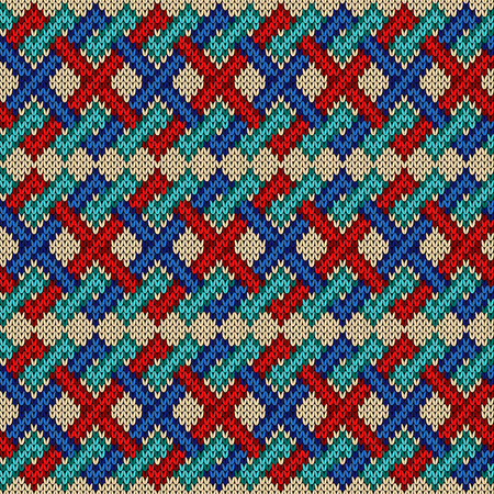 Knitted seamless ornate pattern with interlacing lines in red, blue and turquoise colors on the beige background, vector as a fabric texture
