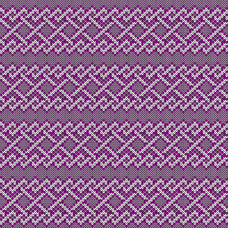 Delicate knitted seamless ornate pattern with interlacing lines in purple hues colors on the mute background, vector as a fabric texture