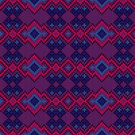 Contrast dark knitted seamless pattern in violet, blue, and pink colors, vector pattern as a fabric texture Stock Illustratie