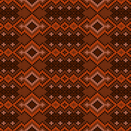 Knitting geometric seamless ornament in brown and orange hues, vector pattern as a fabric texture