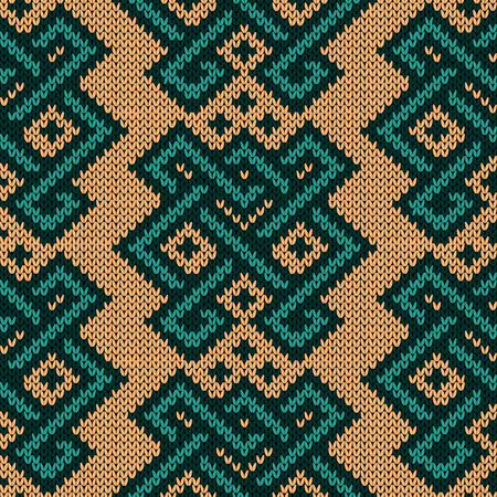 Ornamental knitted seamless pattern with geometric decorative figures with interlacing lines, vector as a fabric texture