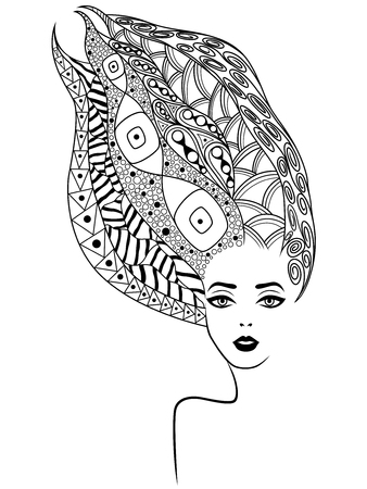 Young lady contour with wavy hair decorated variety of patterns, isolated black vector on the white background