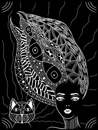 Woman white contour with wavy hair decorated zentangle patterns and with stylized cat, isolated vector on the black background Çizim