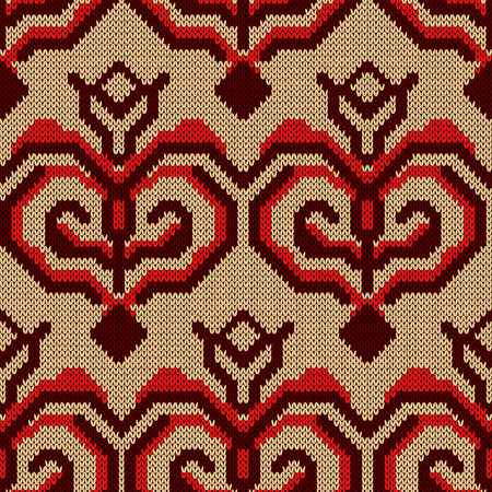 Saturated knitted seamless pattern decorated with decorative figures in red hues on the beige background, vector as fabric texture
