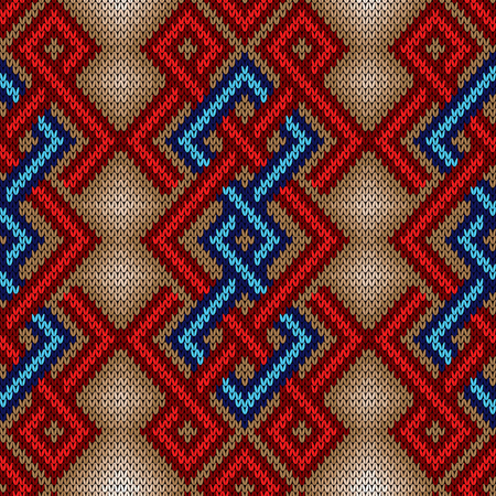 Contrast knitted seamless ornate pattern with interlacing lines in red and blue colors on the mute background, vector as a fabric texture