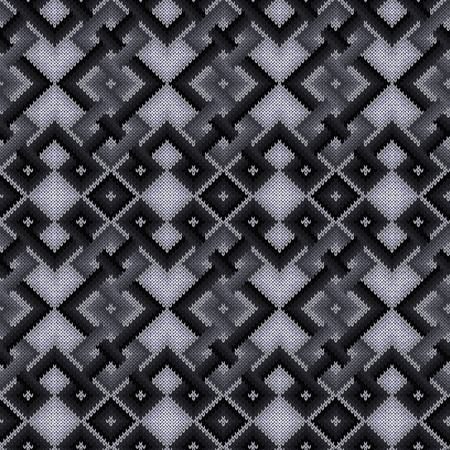 Knitted seamless pattern in monochrome colors with smooth transition of hue, vector pattern as a fabric texture  イラスト・ベクター素材